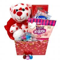 Hugs and Kisses Gift Box with Chocolate, Cookies, Teddy Bear