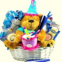 Singing Birthday Bear Gift Basket
