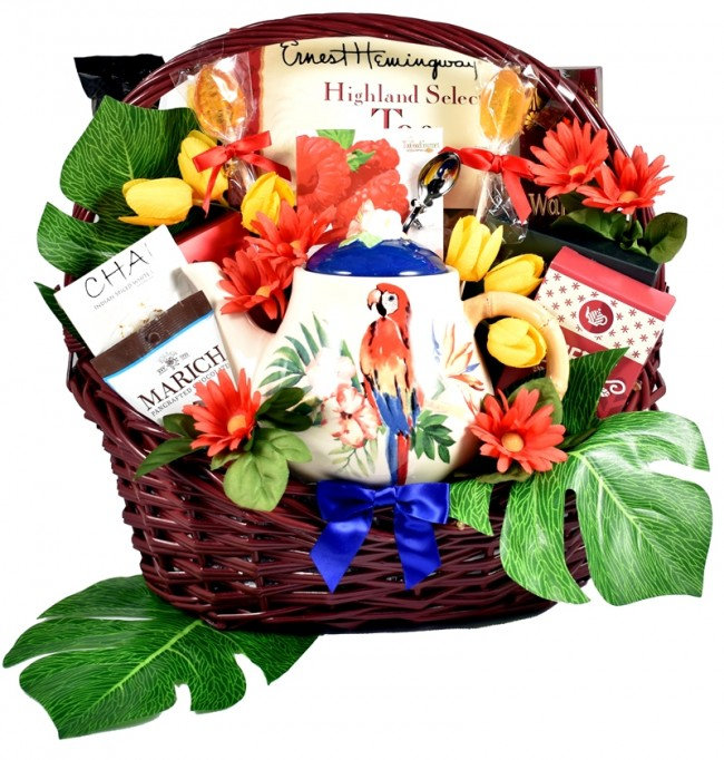 Tea Gift Basket Tropical Pot Set